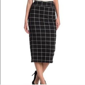14th and union black and white window pane skirt